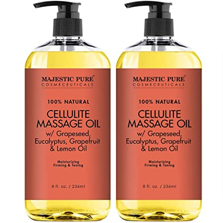 Majestic Pure Natural Cellulite Massage Oil, Unique Blend of Massage Essential Oils – Improves Skin Firmness, More Effective Than Cellulite Cream, 8 fl oz. Set of 2