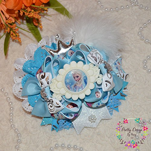 Frozen Bow 5'' / Elsa Bow / OTT Hair Bows/ alligator and barrette / ott bow/ girl bow/ Hair Bows/ accessories/ princess / ott bows by Pretty Design by Kary
