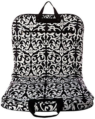 (World Traveler 40 Inch Hanging Garment Bag, Black Trim Damask, One Size)