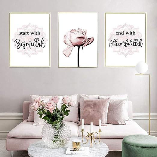 Nordic Ideas 3 Tableaux Fleurs Rose Citation Peinture Toile Art Poster Décoration Murale Nature Moderne Impressions Sur Toile Affiches Deco Salon