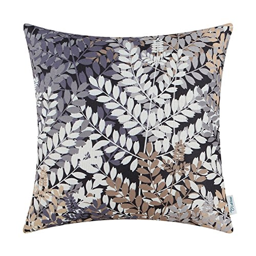 CaliTime Canvas Throw Pillow Cover Case for Couch Sofa Home Decoration Natural Lush Leaves Print 18 X 18 Inches Multi Colors - Decorative Slate
