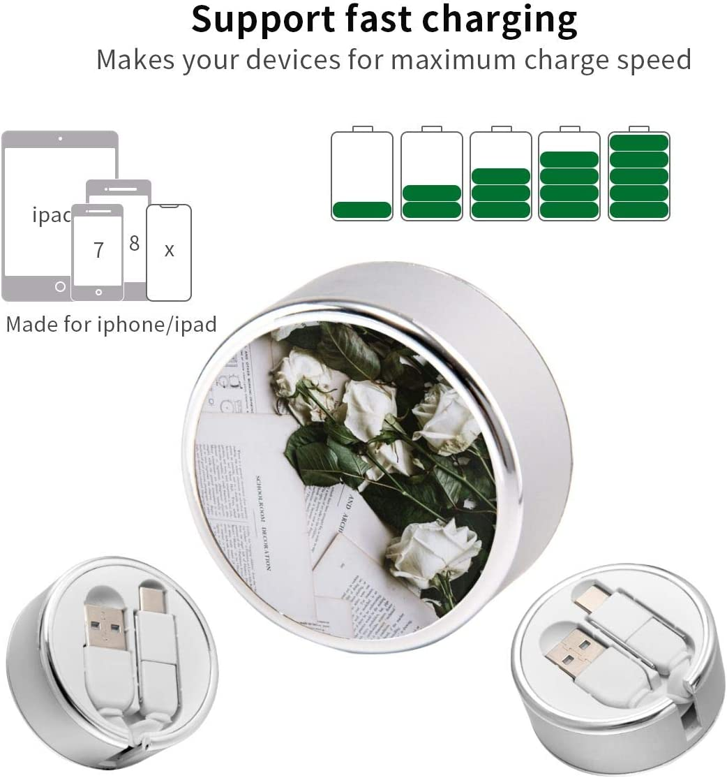 Round USB Data Cable Charging Cable Can Be Charged and Data Transmission Synchronous Fast Charging Cable-Six White Roses On White Printer Papers
