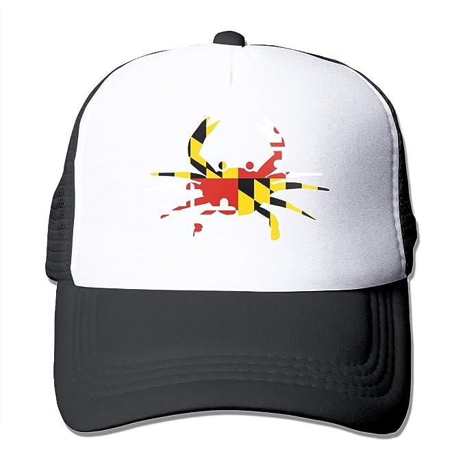 8a37af77466c2 nordic runes Maryland Flag Crab Mens Baseball Trucker Hat Summer  Lightweight Mesh Cap with Adjustable Snapback Strap Black at Amazon Men s  Clothing store