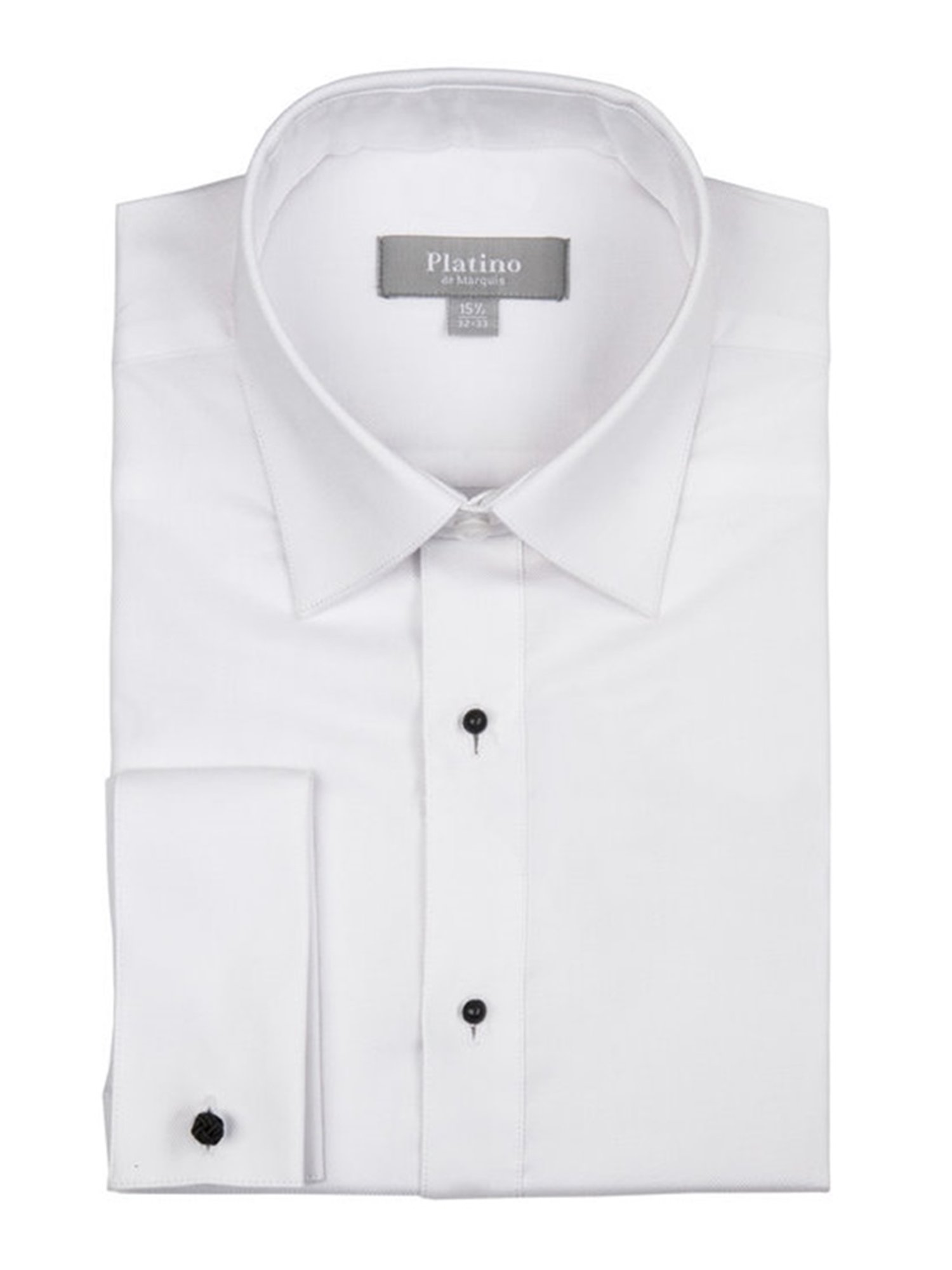 Marquis Platino Men's Textured Slim Fit French Cuff Laydown 100% Cotton Tuxedo Shirt