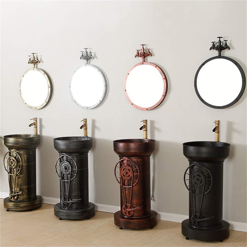 F-HOME Lavabo Lavabo Vintage Industriel R/étro Vasque De Restaurant Accueil Salle De Bain H/ôtel Toilette Vanit/é Couleur : Bronze