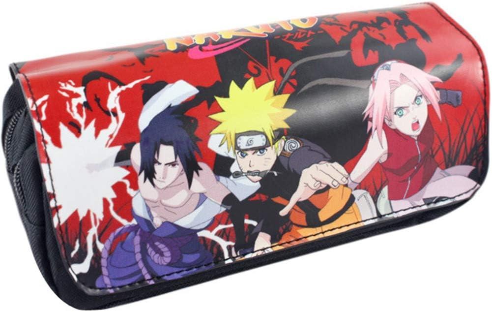 motif dessin anim/é japonais Grande capacit/é Sac de rangement Organiseur de papeterie pour /étudiant Bureau 20 x 9 x 6,5 cm Lunanana Naruto Shippuden Trousse /à crayons