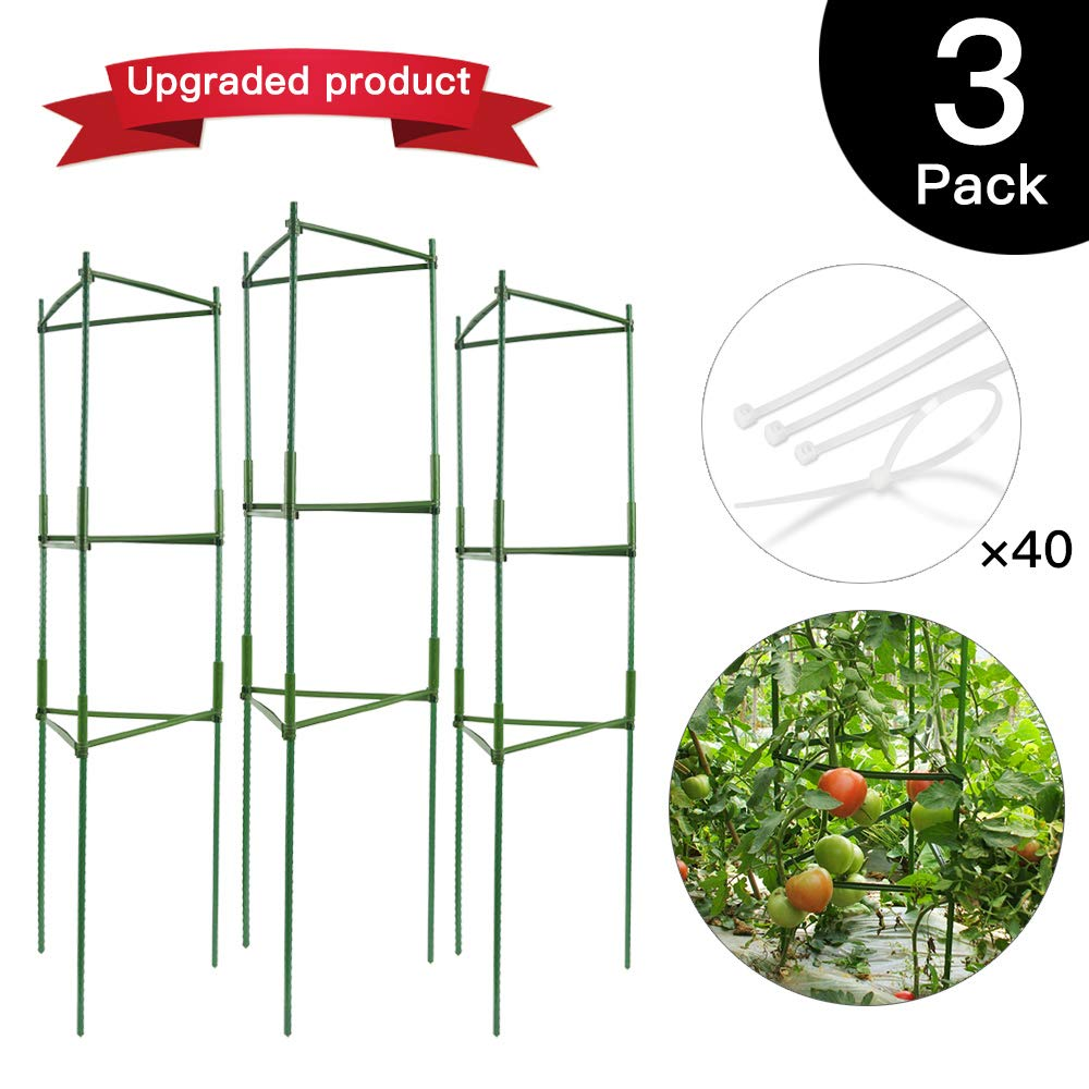 IPSXP Vegetable Trellis, Garden Plant Support Stakes for Climbing Plants, Vegetables, Flowers, Fruits, Vine, 3 Garden Trellis with 40 Adjustable Cable Tie by IPSXP