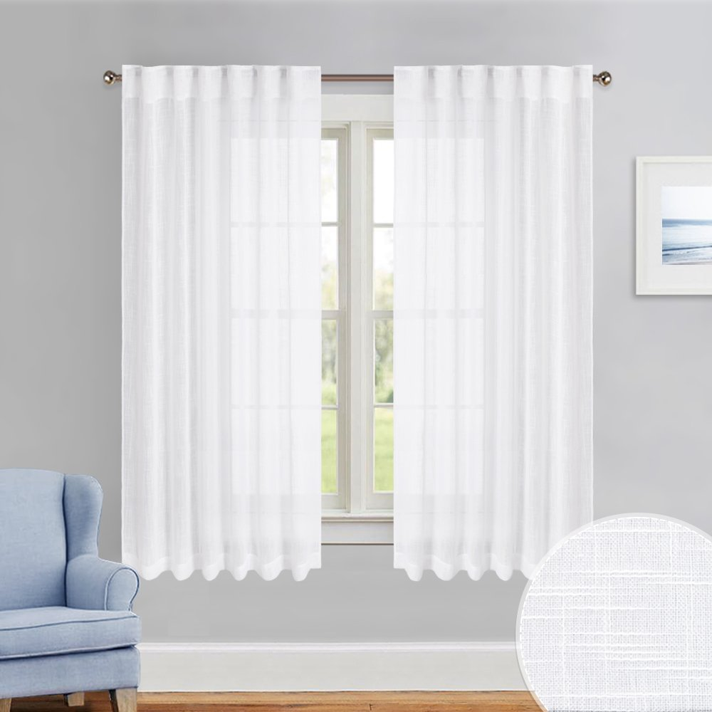 """PONY DANCE Kitchen Curtains Sheers - Sheer Valance Kitchen Faux Linen Textured Elegant Back Tab Privacy Protect Voile Drapes for Bedroom/Bathroom / Bay Windows/Cafe, W 52"""" x L 45"""", 2 Pieces"""