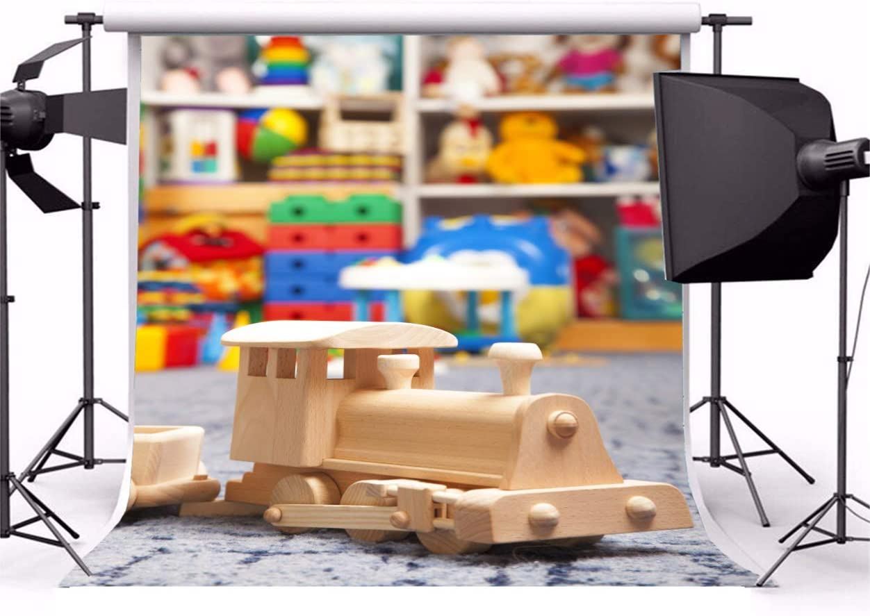 Laeacco School Toy Store Backdrop 10x10ft Vinyl Photography Backgrounds Cute Children Toys Wooden Train Colorful Toys Gifts Students Infant Kids Photo Backdrop Studio