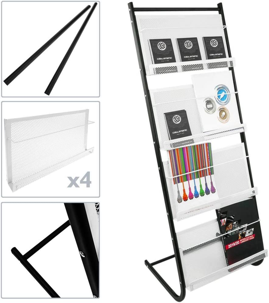 PrimeMatik Espositore da Terra 480 x 400 x 1300 mm con 4 Scomparti per brochure e riviste