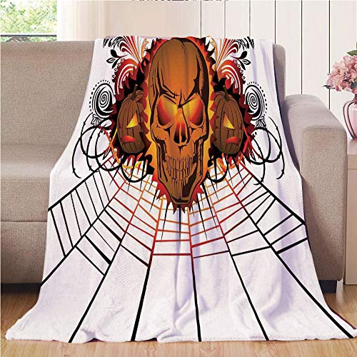 Throw Blanket Custom Cozy Blanket Perfect for Couch Sofa or Bed Beautiful 3D Printed,Halloween Decorations,Angry Skull Face on Bonfire Spirits of Other World Concept Bats Spider Web,Multi,31.50