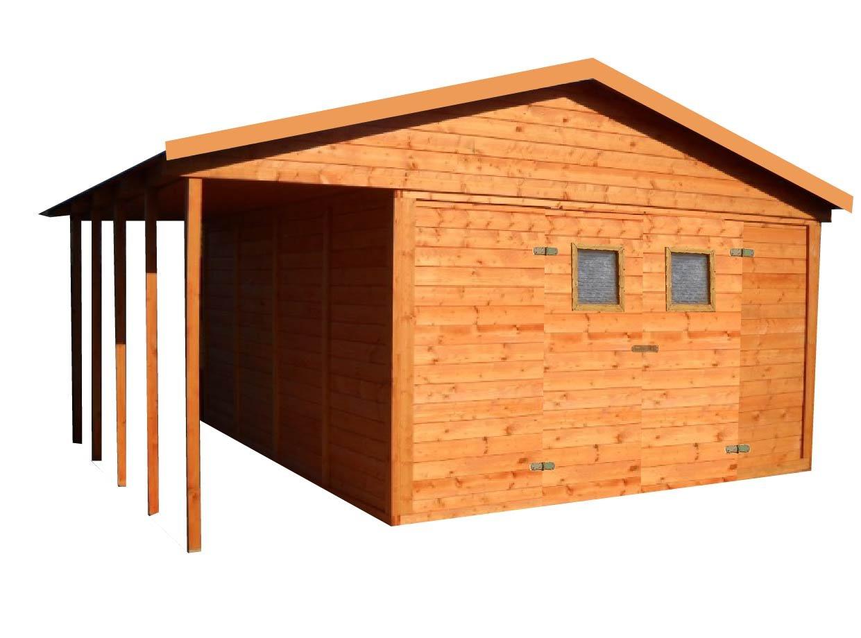 cadema Jardín Casa de madera con terraza 12, 6 M2 + 3, 6 m2 (16 mm) con ventanas, incluye suelo, cobertizo: Amazon.es: Jardín