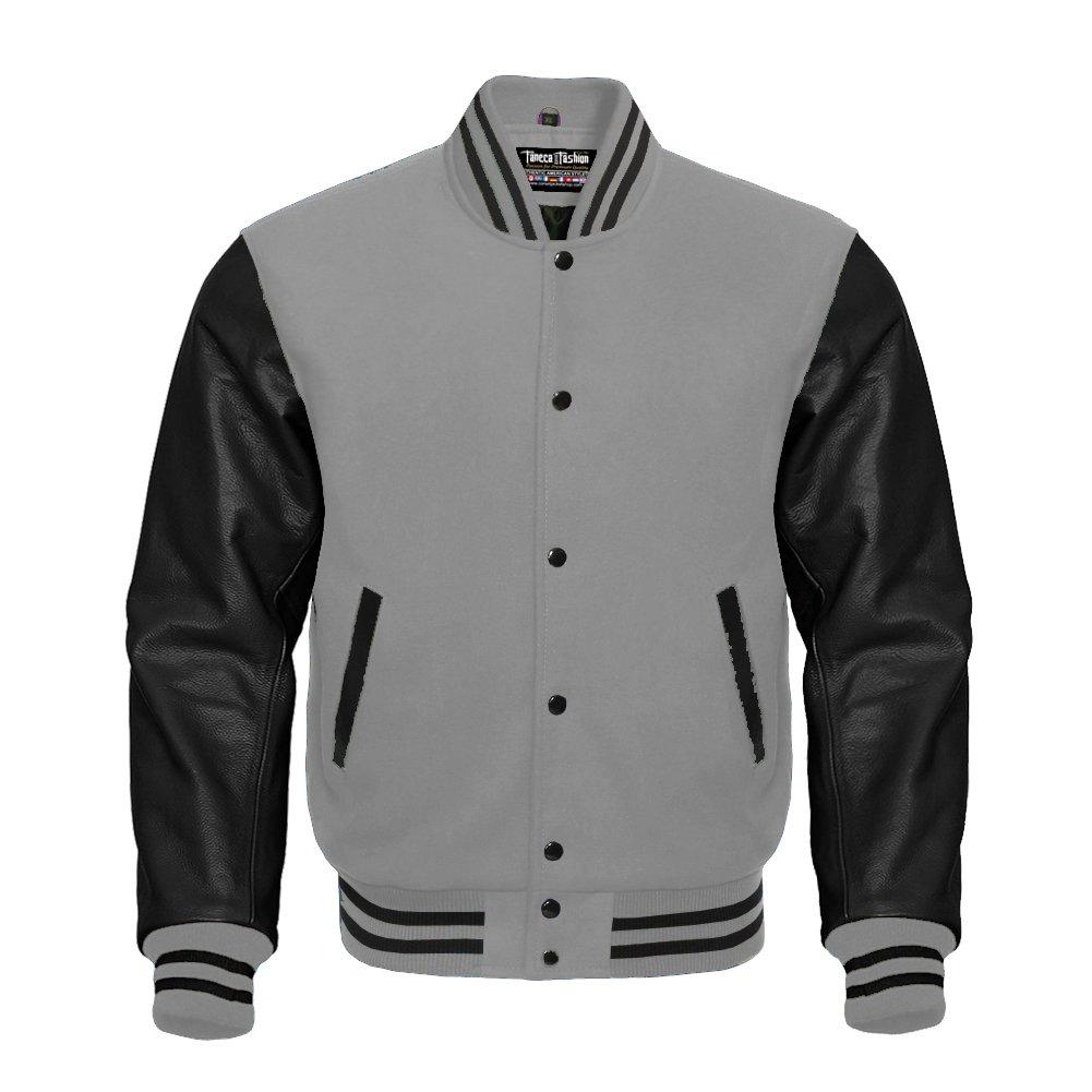 Letterman Baseball Varsity Jacket Gray Wool & Black Genuine Leather Sleeves Estek Sports E105