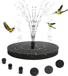 Solar Fountain Pump,1.4W Upgraded Solar Power Fountain with 6 Easy Install Nozzles&4 Fixer,Solar Bird Bath Water Fountain for Fish Pond,Garden,Patio,Lawn,Pool,Aquarium,Decoration Outdoor,Humming Birds