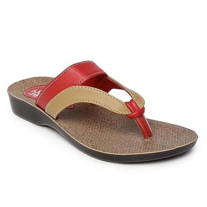 PARAGON SOLEA Women's Red Flip-Flops Women's Fashion Slippers at amazon