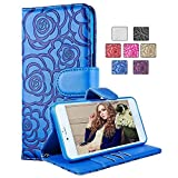 Nexus 6P Wallet Case,Vandot Premium Vintage Emboss Flower Flip Folio Stand Wallet Shell PU Leather Magnetic Closure Cover Skin with Detachable Wrist Strap Case for Huawei (Google) Nexus 6P-Blue