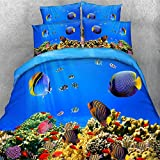 3D Cotton Blue Ocean Palm Hawaii Holiday Design Ocean Many Fish Design Bedding Sets 4 Pieces Without Comforter Full Size