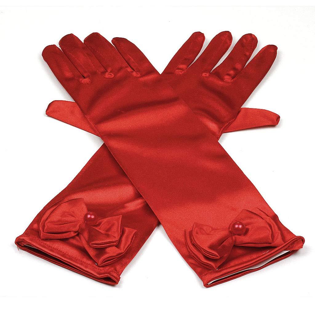 11.5 Inch Stretchy Satin Long Finger Bowknot Dress Glove for Girl, White