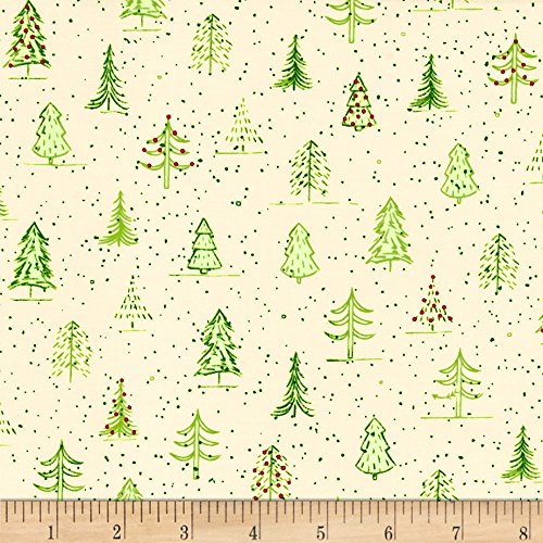 Light Green Cotton Fabric - Quilting Treasures Qt Fabrics Naughty Or Nice? Christmas Trees Fabric by The Yard, Ecru/Light Green
