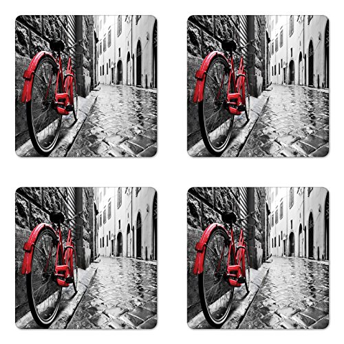 Lunarable Bicycle Coaster Set of Four, Classic Bike on Cobblestone Street in Italian Town Leisure Artistic Photo, Square Hardboard Gloss Coasters for Drinks, Red Black and White ()