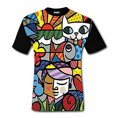 Romero Britto Gambar Grafiti Nama Bayu D Print Shirts Mens Creative Graphic Tee Short Sleeve