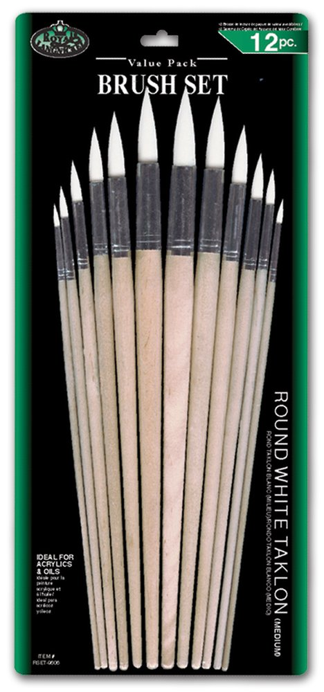 Royal and Langnickel - Set di 12 pennelli a punta tonda (assortiti) con setole in taklon, colore: Bianco Royal Brush Mfg RSET-9606