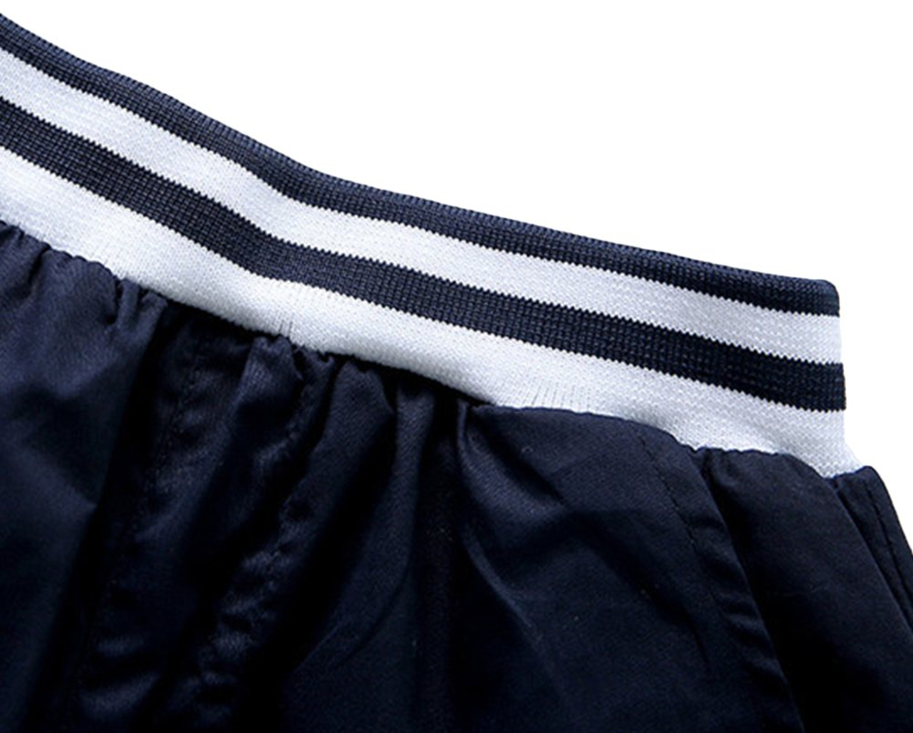 Little Boy 2 Pieces Navy Blue Striped Clothing Set Short Suit for Wedding 6T by POBIDOBY (Image #4)