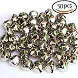 50 PCS 1 Inch/ 25mm Silver Christmas Jingle Bells Mini Small Bells Bulk for Festival & Party Decorations/ DIY Craft