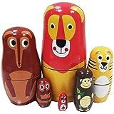 Veewon niedlichen Karikatur Tier Matrjoschkapuppen Matte Menschen yo Ton Wahnsinn russische Puppe handgemachte Kinder Geschenke Spielzeug - 6 Stück