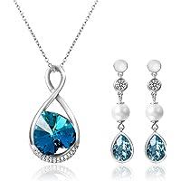 Aroncent 2PCS Pendientes de Swarovski Cristal Azul Aretes Largos de 925 Plata de Ley Esterlina Perla Circonita Brillante Joyería Moda Elegante Regalo Original para Mujer Novia Pareja, Plateado