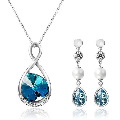 2d079df72799 Aroncent 1PCS Collar 2PCS Pendientes Swarovski Cristal Azul Juego de  Joyería Mujer Amor Infinito Plata de Ley Esterlina Aretes Largos de Perla  Circonita ...