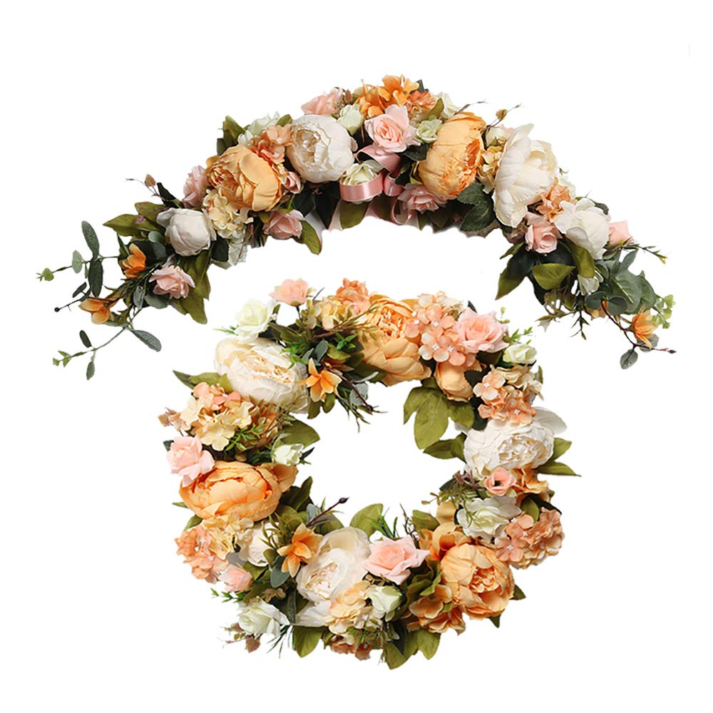 HiiARug Wedding Home Holiday Decoration Wreath and Swag Set, Vintage Artificial Peony Silk Flower Wreath Door Decorations Orange (16' Wreath+ 26' Garland) Vintage Artificial Peony Silk Flower Wreath Door Decorations Orange (16 Wreath+ 26 Garland)