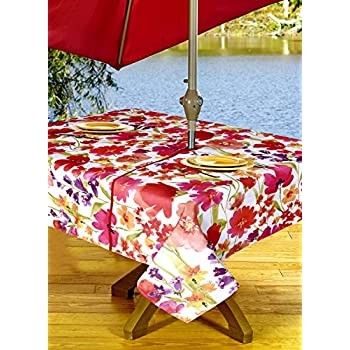 Outdoor Tablecloths, Umbrella Hole With Zipper Patio Tablecloth, Stain  Resistant, Spill Proof,