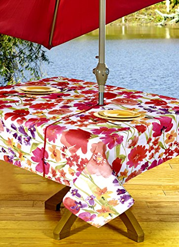 Umbrella Design Tablecloth Vinyl (Outdoor Tablecloths, Umbrella Hole With Zipper Patio Tablecloth, Stain Resistant, Spill Proof, Shrink Resistant, Iron Free, Beauty and Performance (60 x 90, Bouquet of Flowers))