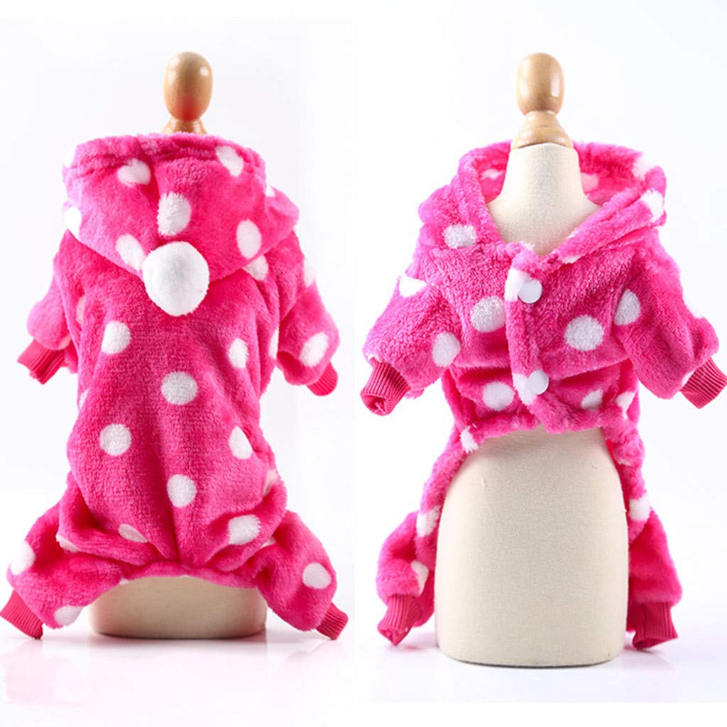 Puppy Hoodies Coat Winter Sweatshirt Warm Sweater Dog Outfits Jumpsuit Pajamas Tracksuit Sportswear Doggie Apparels Clothes (Purple,Large) FunDiscount Pet Clothes for Dog Cat