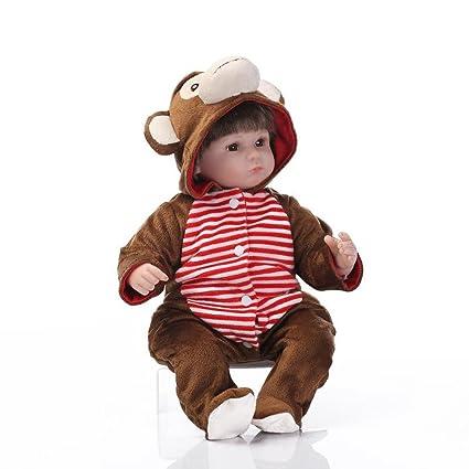 8c33e843c8f38 Amazon.com: NPKDOLL Handmade Soft Simulation Silicone Reborn Baby Lifelike  Doll 18inch 45cm Boy Girl Gift Doll for Children Gray Red Brown Monkey  Lovely ...