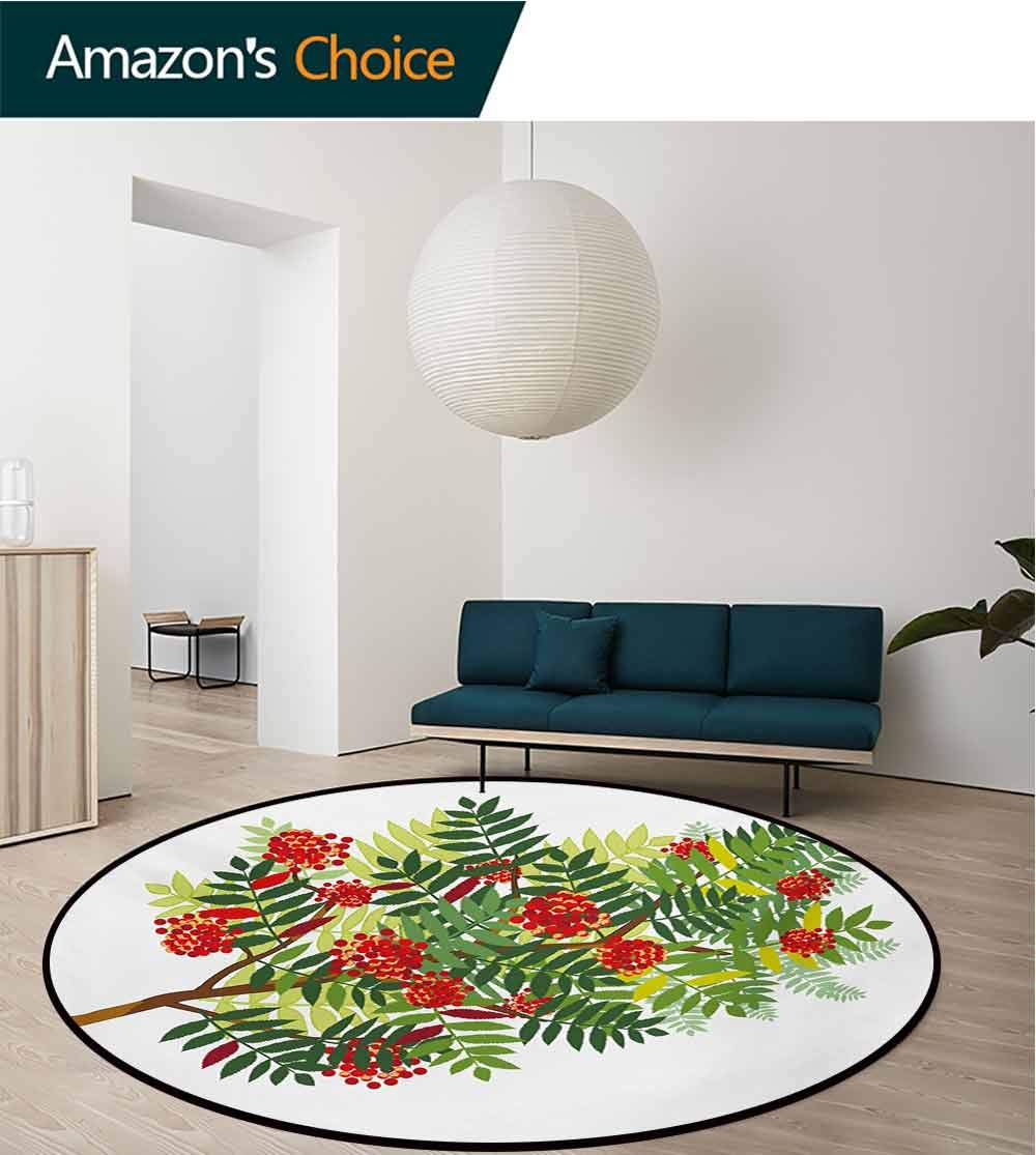 RUGSMAT Rowan Round Rug,Graphic Tree Branch with Green Colored Leaves and Berries Seasonal Carpet Door Pad for Bedroom/Living Room/Balcony/Kitchen Mat,Diameter-59 Inch Red Dark Green Appple Green