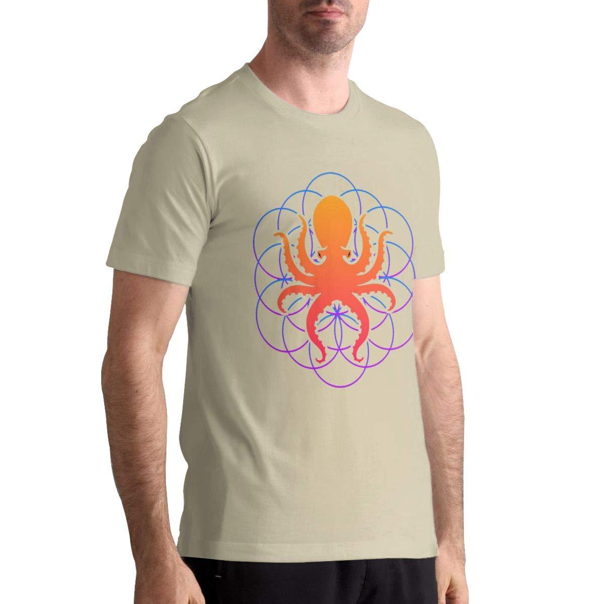DANIELBURTON Summer Psychedelic Sacred Geometry Octopus Man Natural T-Shirt Top Tees Short Sleeve Shirts