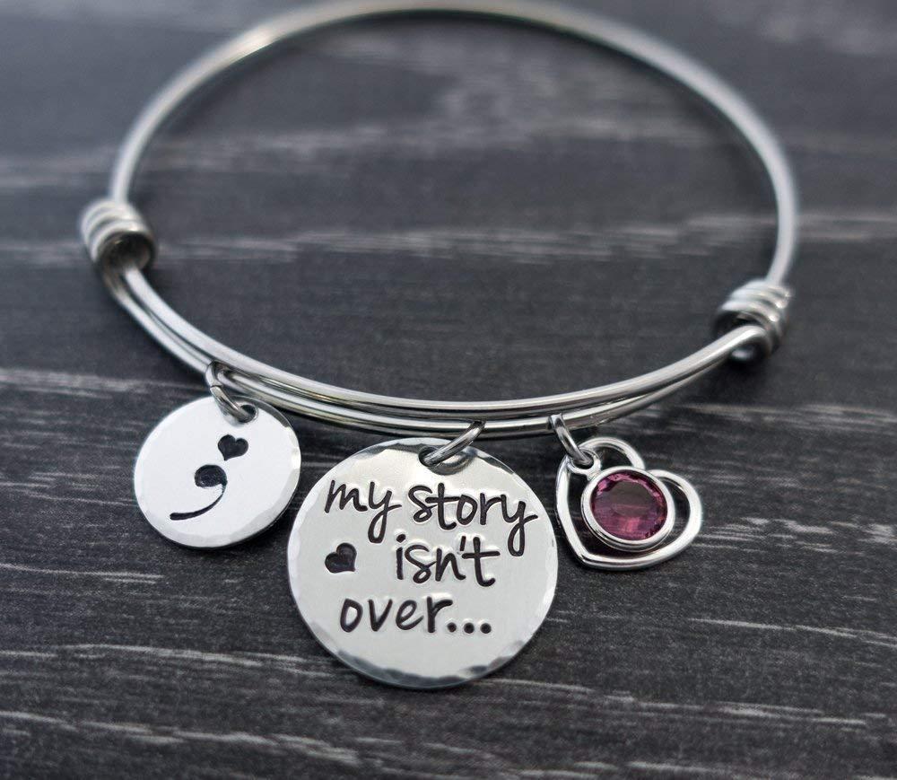Semicolon Jewelry Bangle Bracelet My Story Isnt over Yet Personalized Charm Bracelet Suicide Depression Awareness