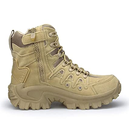 7be3ddce8fb Jinjin Men Combat Shoes - Sport Army Tactical Boots Desert Outdoor Hiking  Leather Boots