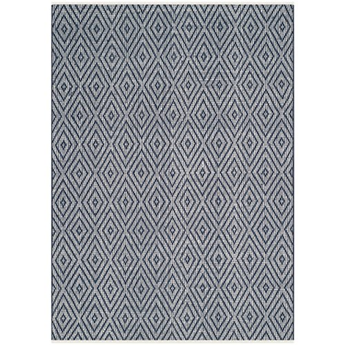 Safavieh Montauk Collection MTK811C Handmade Flatweave Navy and Ivory Cotton Area Rug (5' x 8')