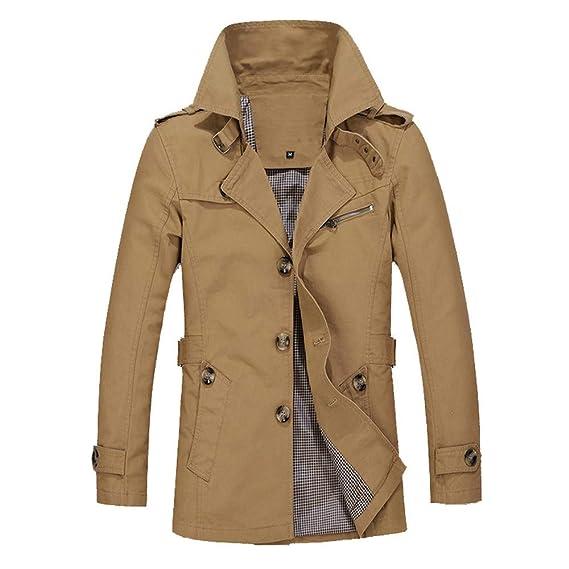 ZODOF Chaqueta de Hombres Abrigo de Chaqueta Caliente de Invierno de los Hombres Outwear Abrigo de Botones de Malla Larga Delgada M-5XL: Amazon.es: Ropa y ...