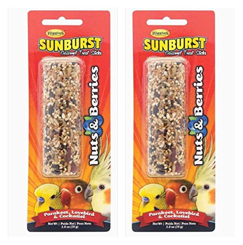 Higgins 2 Pack NUTS & BERRIES SUNBURST GOURMET BIRD TREAT STICKS For Parakeets, Lovebirds & Cockatiels