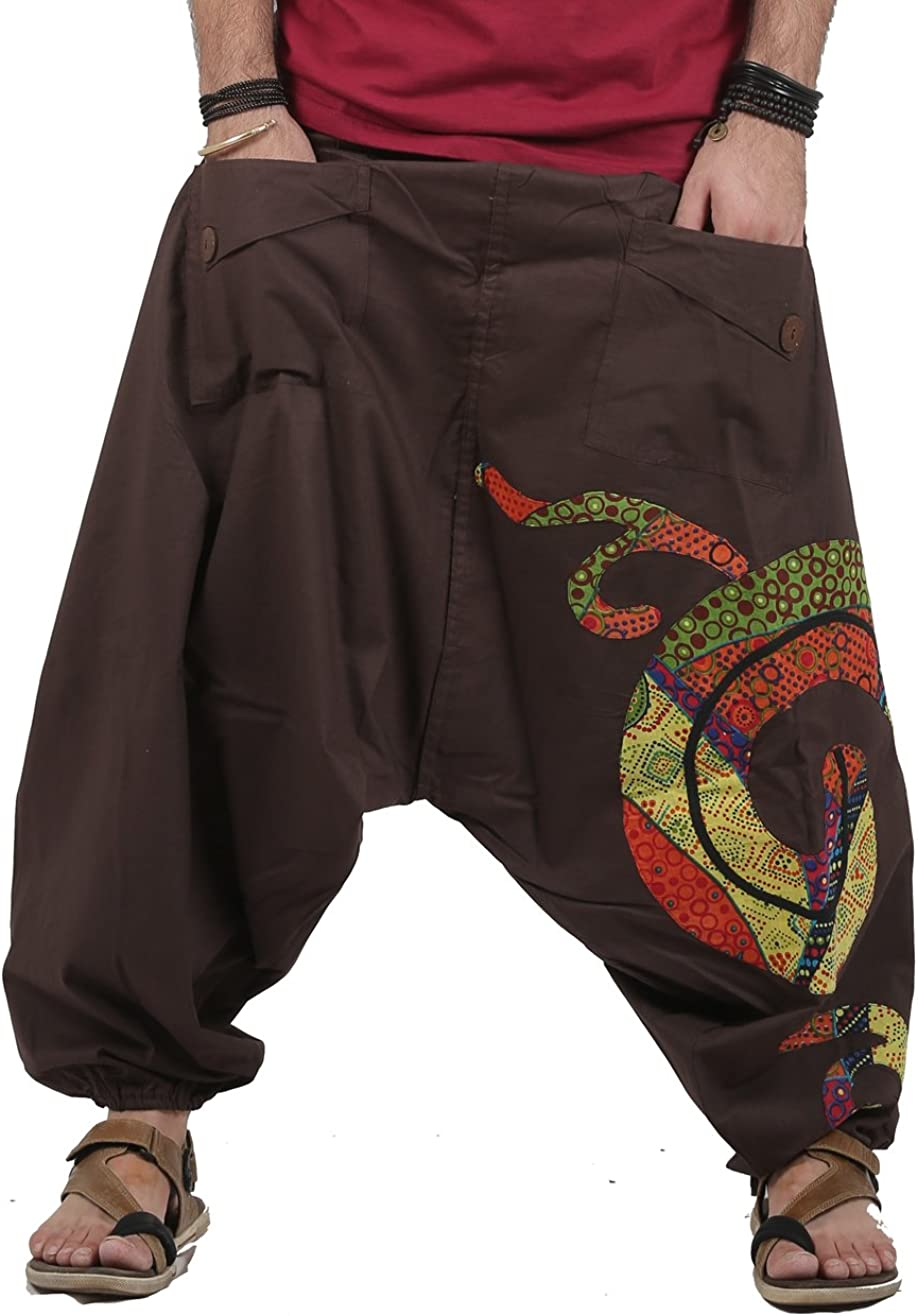 Patchwork Design Mens Boho Hippie Cotton Baggy Wide Leg Handmade Harem Pants