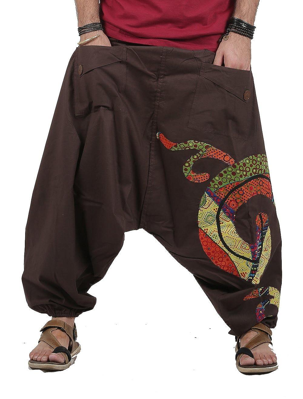 The Harem Studio Hombre Mujer Pantalones Harem Unisex Bombachos Ligeros, Hippies, de algodón, Casuales, Boho - Estilo Patchwork
