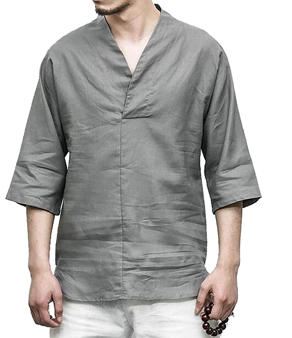 CRYYU Men Linen Cotton 3//4 Sleeve Summer Casual Solid Color Beach T-Shirts