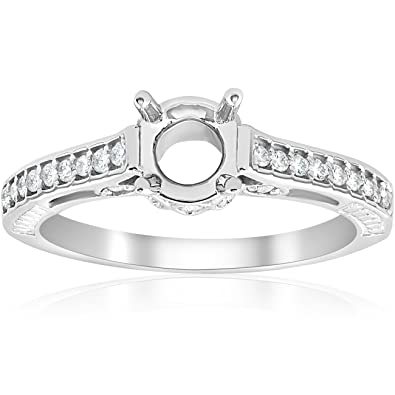 vintage 15ct semi mount engagement ring setting 14k white gold - Wedding Ring Setting