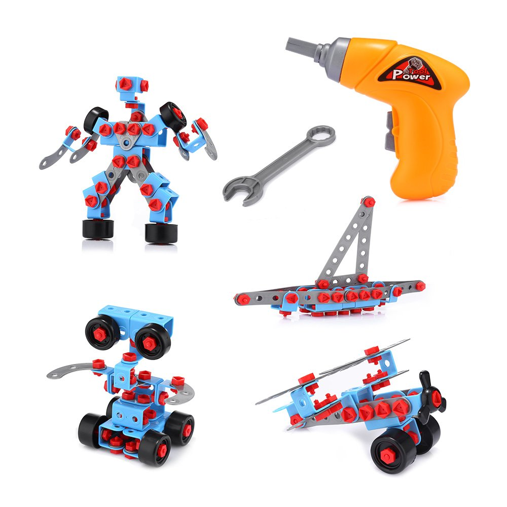 ACCEWIT Take-a-part Toy Building Blocks 286 Pieces Building Engineering Educational Construction Learning Creative Toys Car Robot DIY Tiles Game With Tool Drill