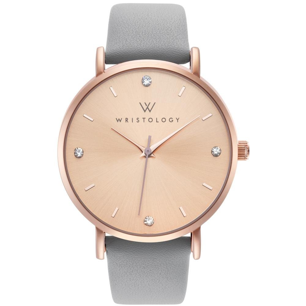 WRISTOLOGY Olivia Womens Crystal Boyfriend Watch Rose Gold Gray Leather Changeable Band