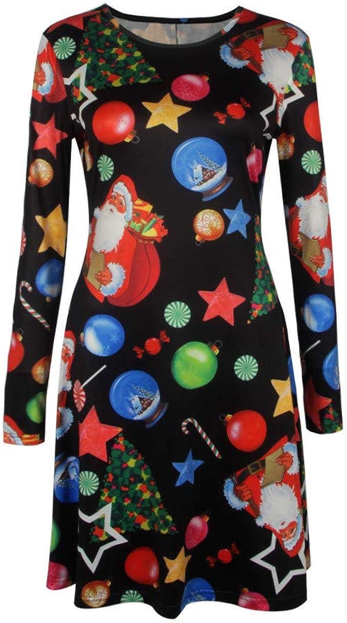 ASHOP Vestidos Mujer Tallas Grandes Vestir de Navidad 70S ...